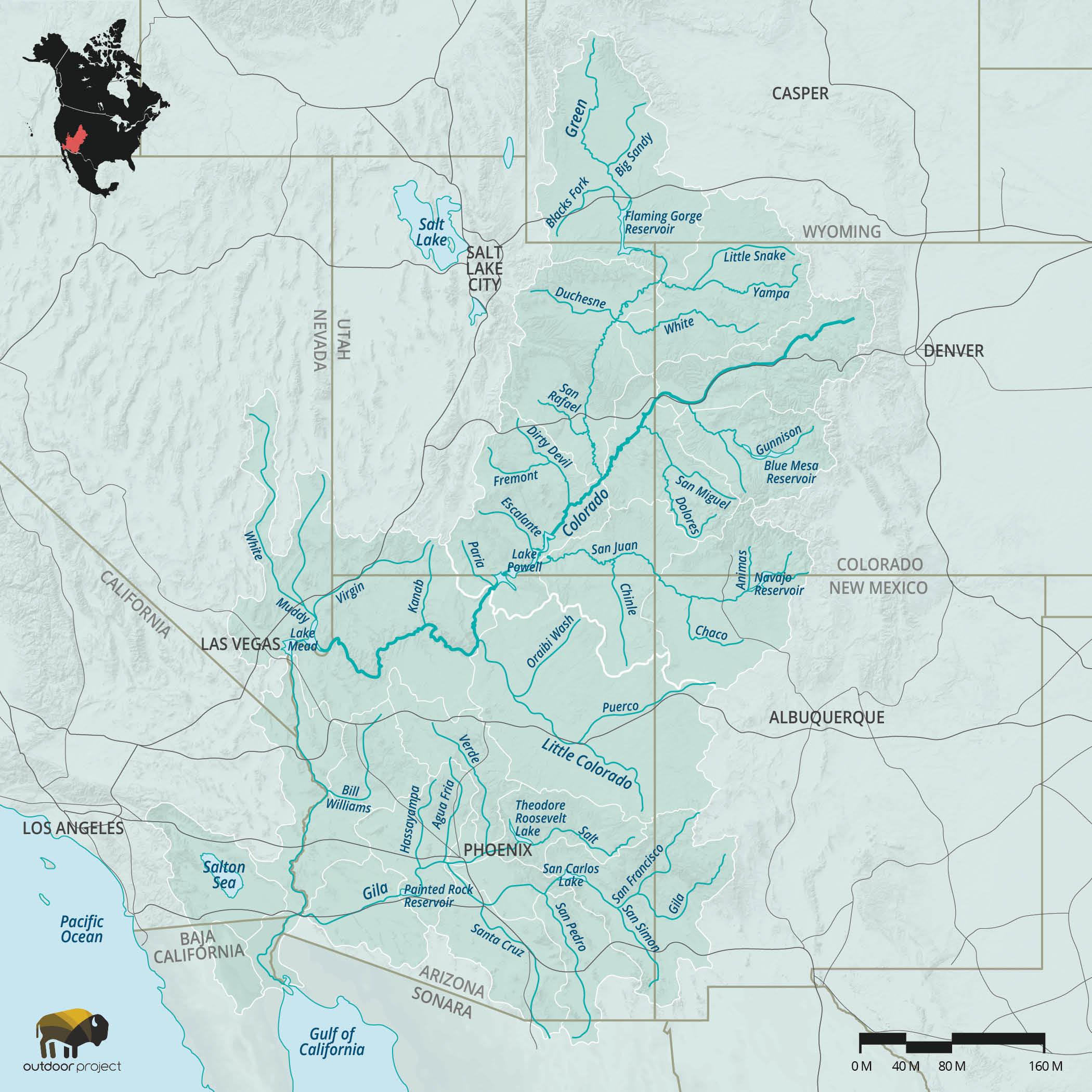 The Colorado River Ecosystem Outdoor Project - Colorado river map world atlas