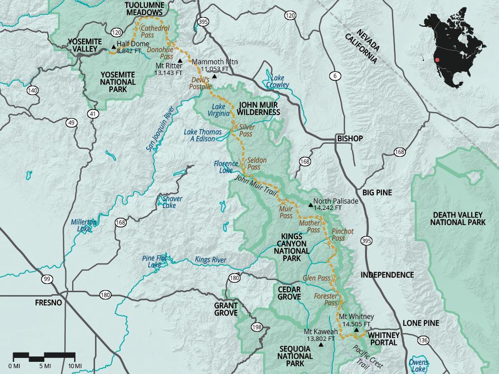 John Muir Trail Jmt Overview Sierra Nevada Mountains