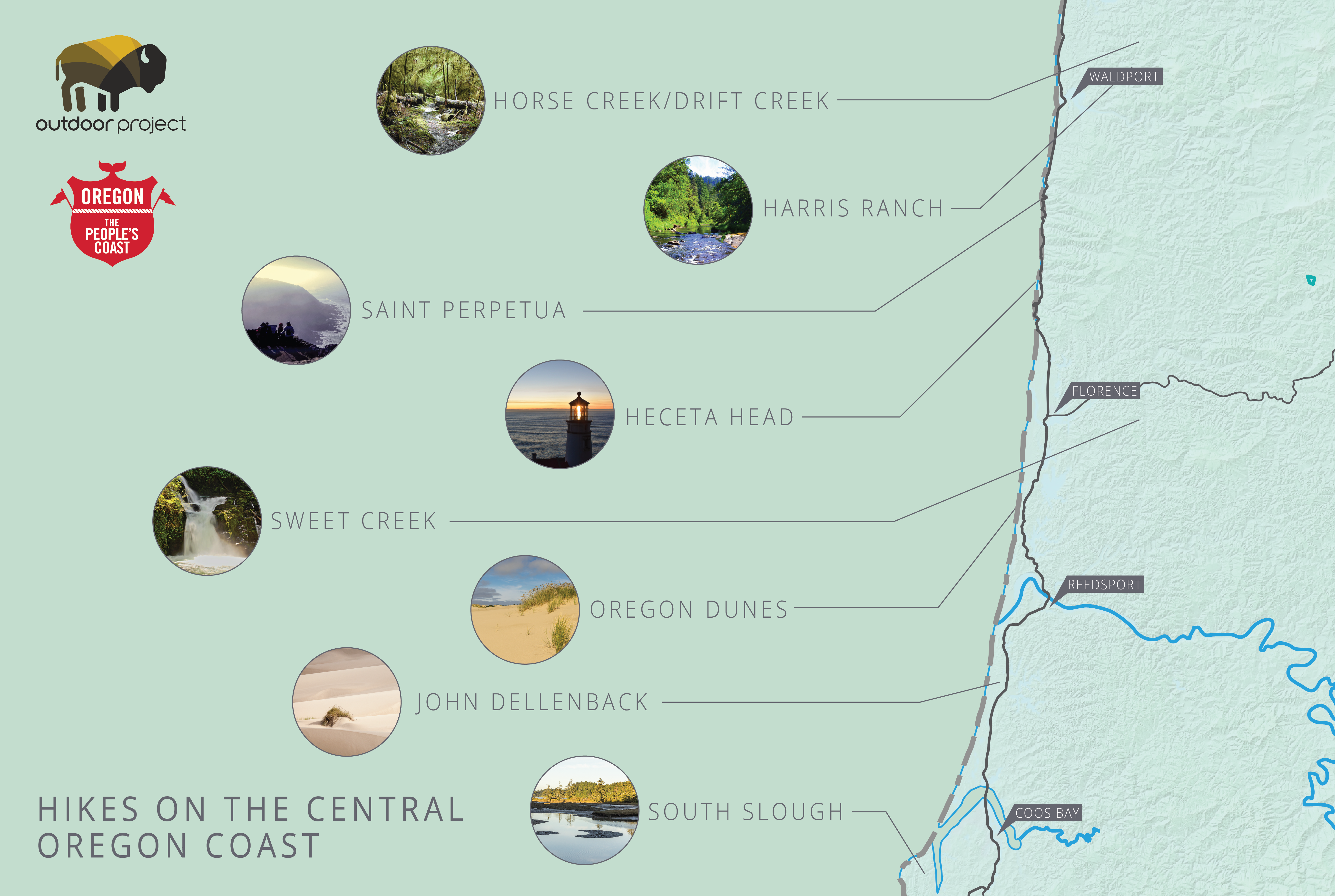 Lighthouses In Oregon Map.Best Hikes On The Central Oregon Coast Outdoor Project