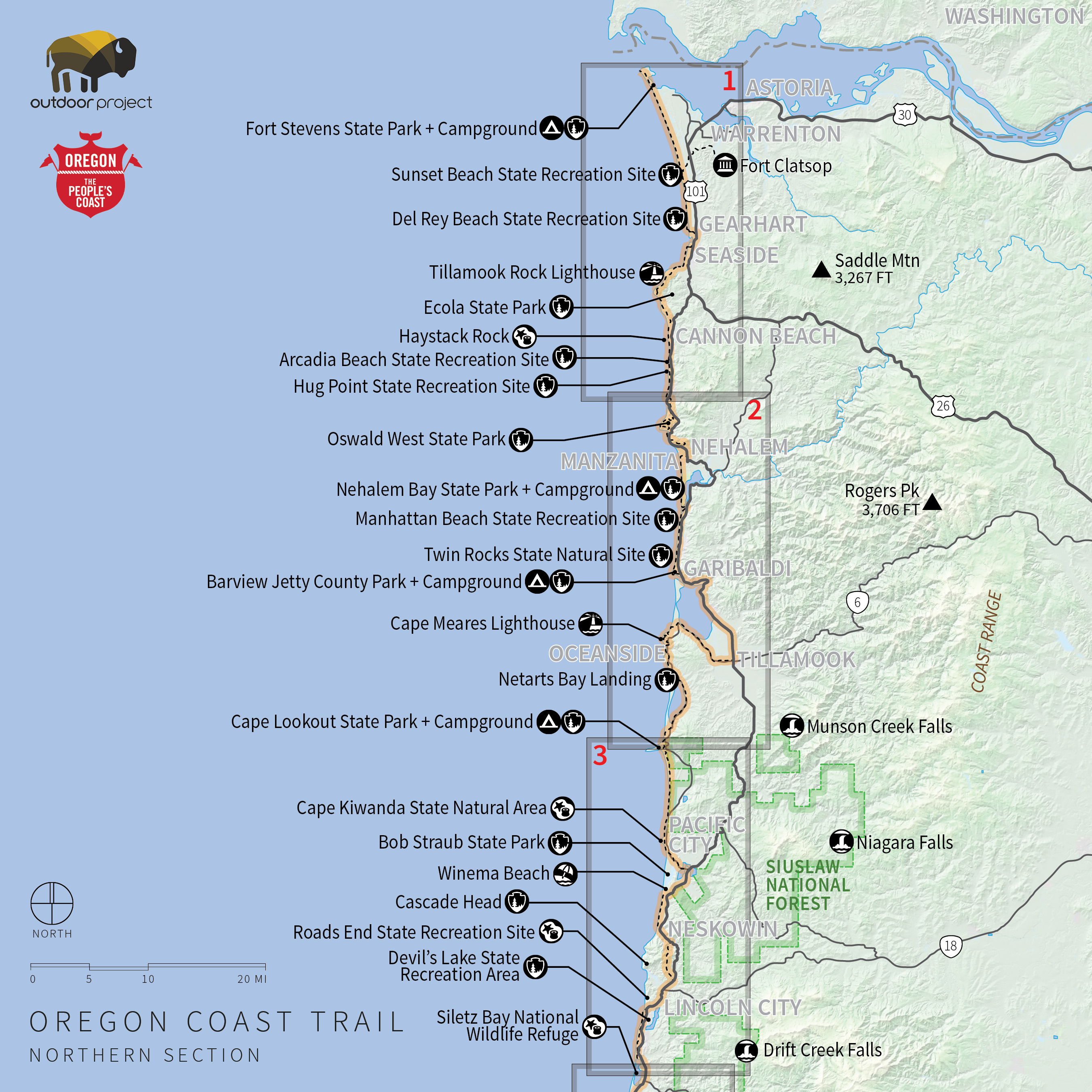 Columbia River To Oswald West State Park Map The Oregon Coast