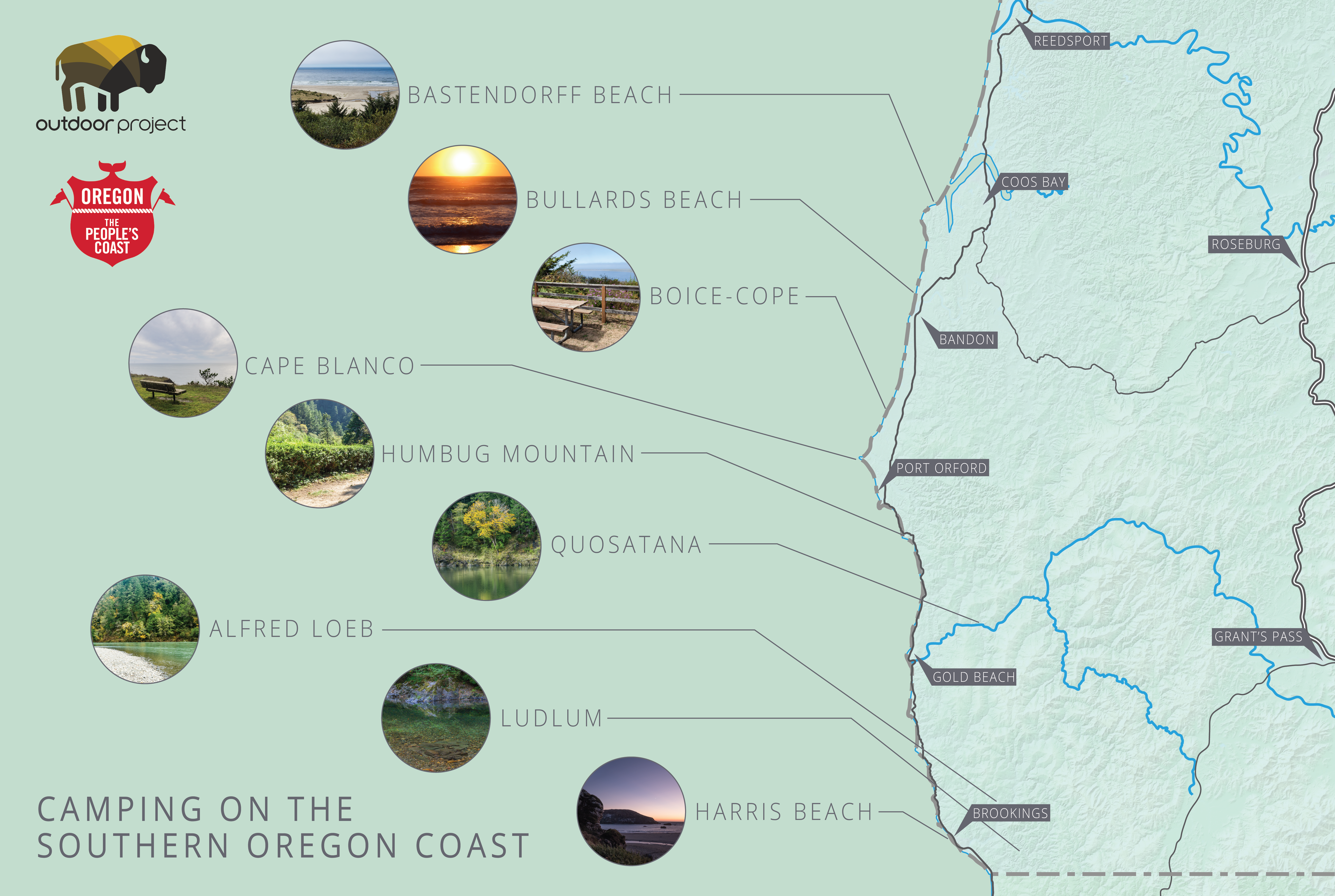 Camping On The Southern Oregon Coast Outdoor Project - Map of south oregon