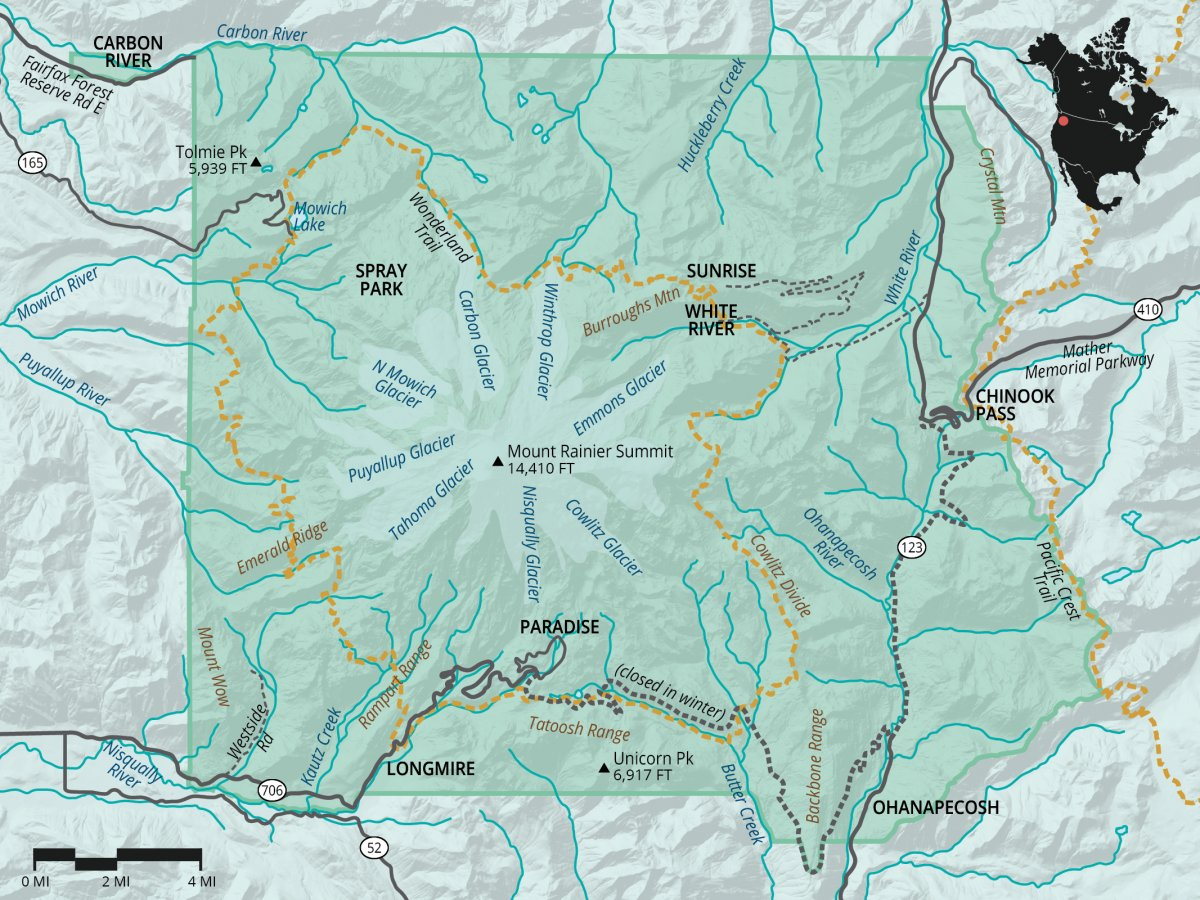 Mount Rainier National Park Outdoor Project - Mt rainier on us map