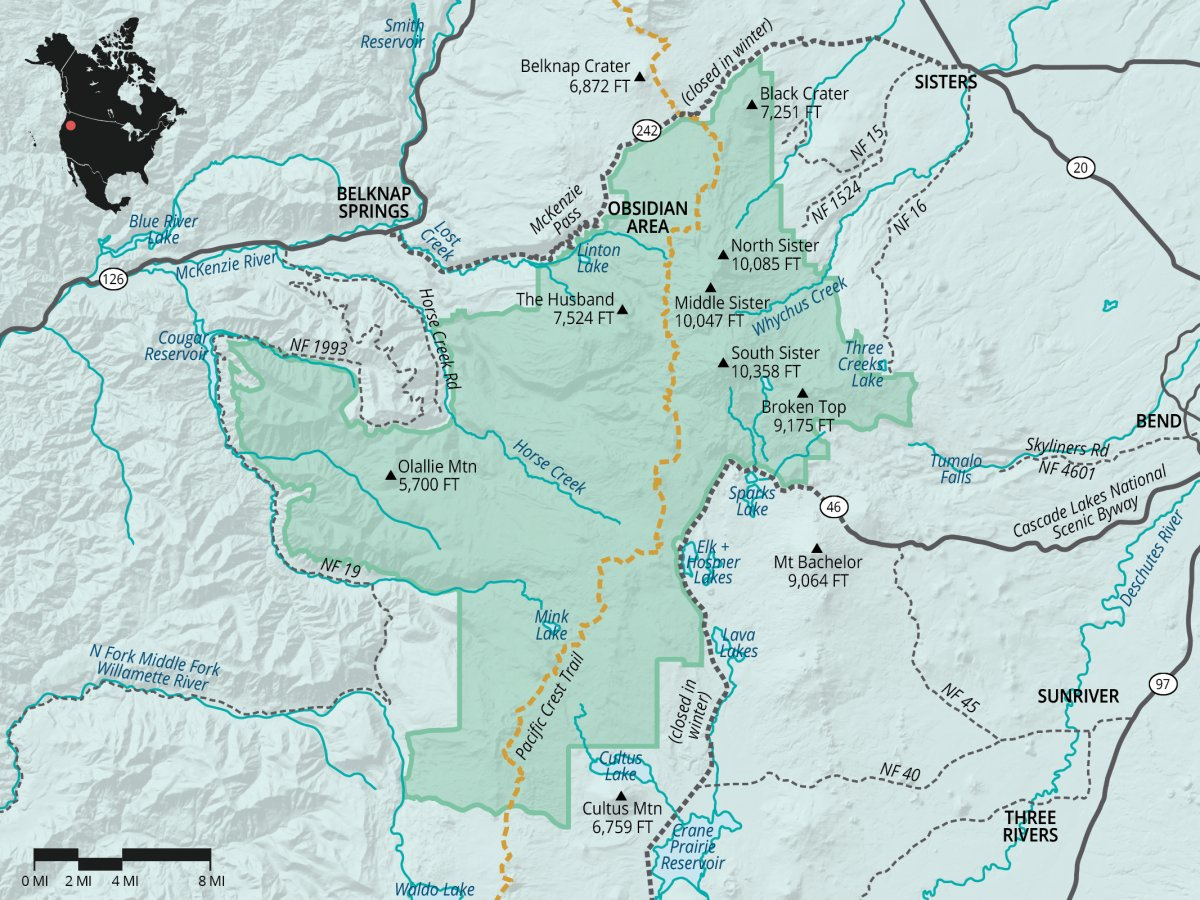 Three Sisters Wilderness Outdoor Project - Map of south oregon