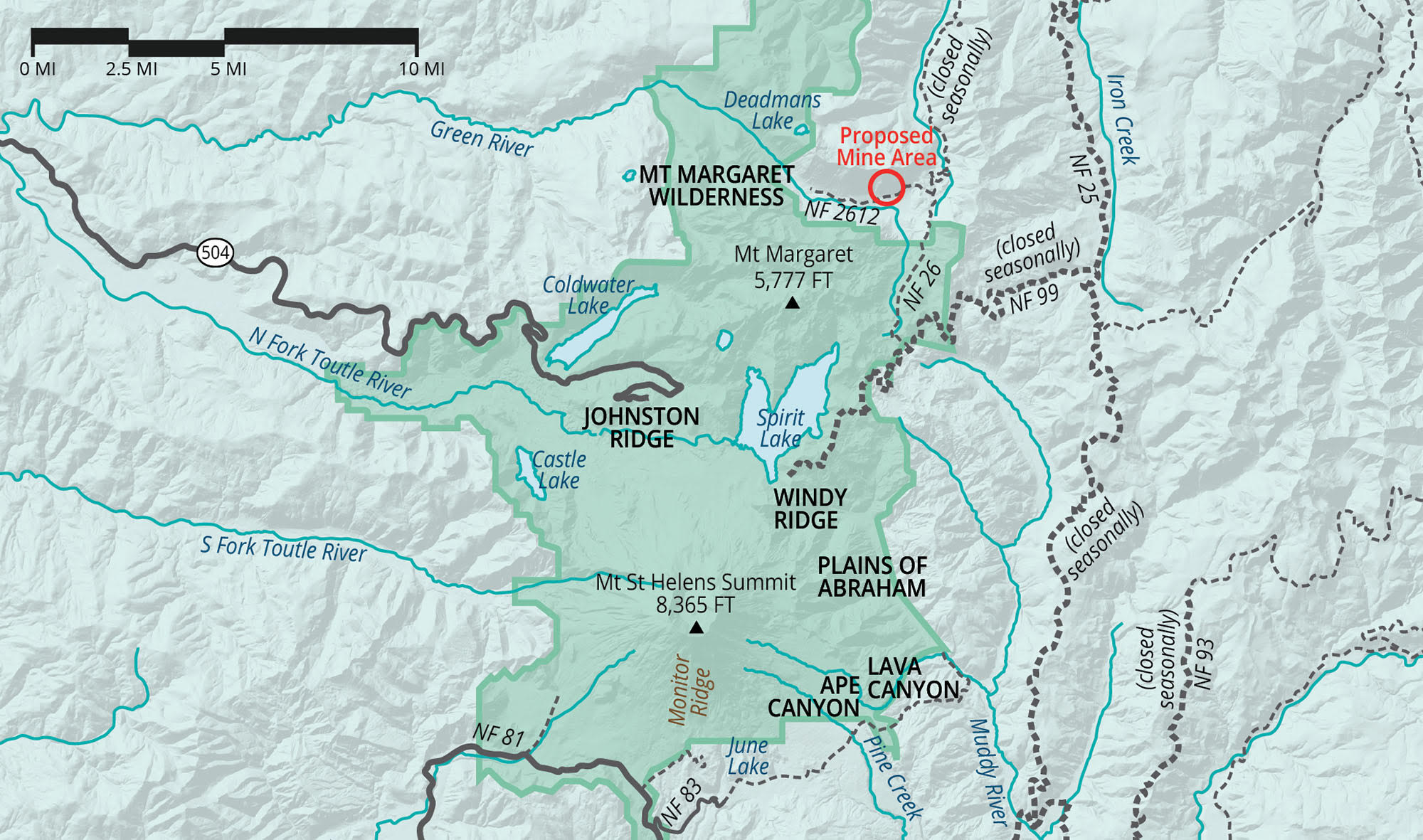 this watershed runs through mount st helens national volcanic monument and continues its westward course to the toutle river ultimately providing drinking