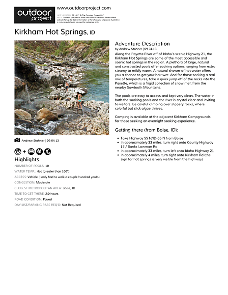 Kirkham Hot Springs Field Guide