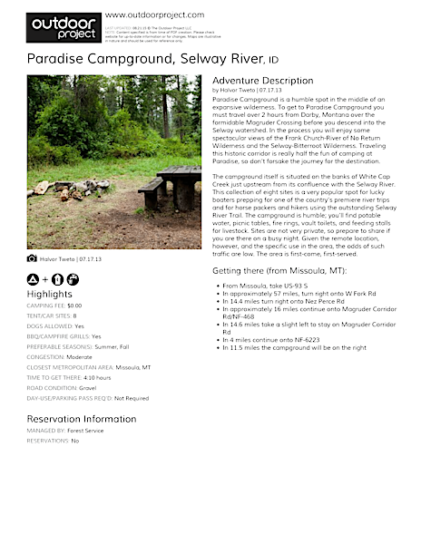 Paradise Campground Field Guide