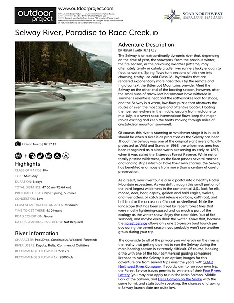 Selway River Field Guide