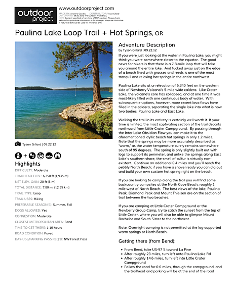 Paulina Lake Loop Trail + Hot Springs | Outdoor Project
