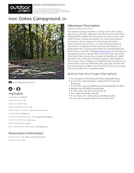 Ivan Oakes Campground Field Guide