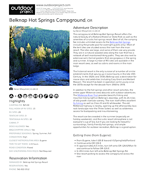 Belknap Hot Springs Campground Field Guide
