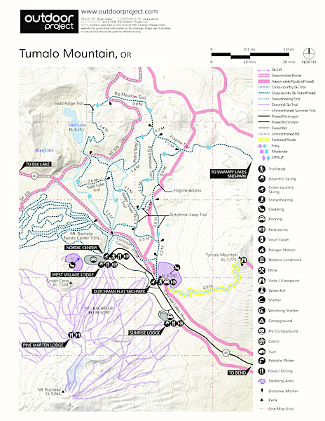 Tumalo Mountain Snowshoe Map