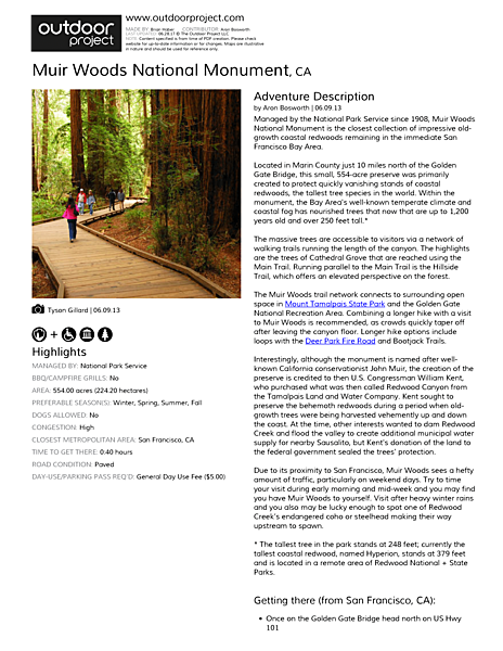 Muir Woods National Monument Field Guide