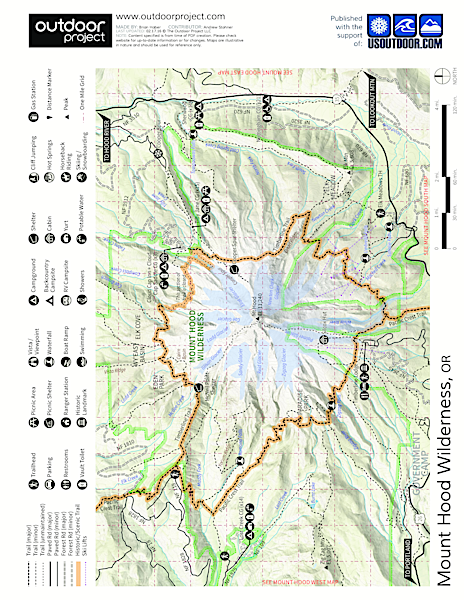 Cooper Spur Shelter via Tilly Jane Trail Map