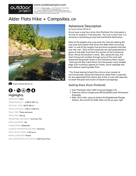 Alder Flats Hike + Campsites Field Guide