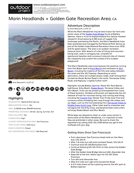 Marin Headlands + Golden Gate Recreation Area Field Guide