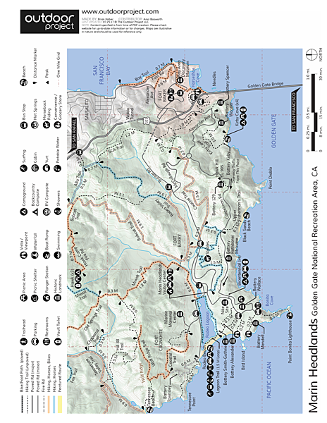 Marin Headlands + Golden Gate Recreation Area Map