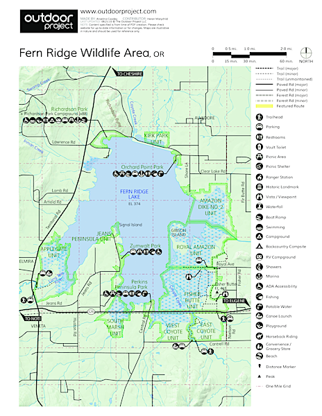 Fern Ridge Wildlife Area, Royal Amazon Unit Map