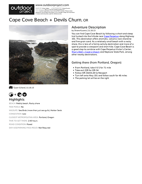 Cape Cove Beach + Devils Churn Field Guide