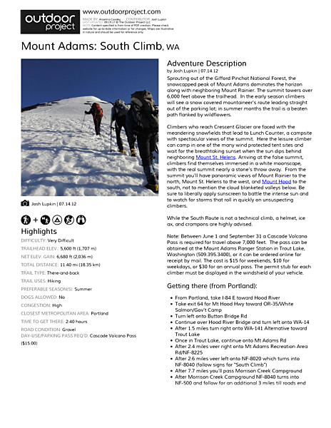 Mount Adams: South Climb Field Guide