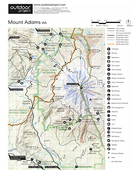 Mount Adams: South Climb Trail Map