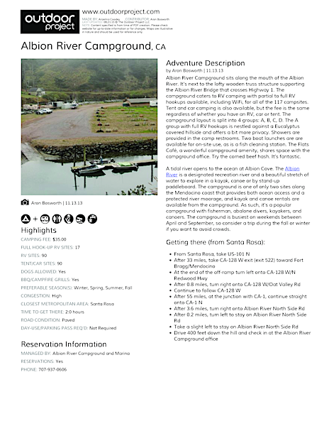 Albion River Campground Field Guide