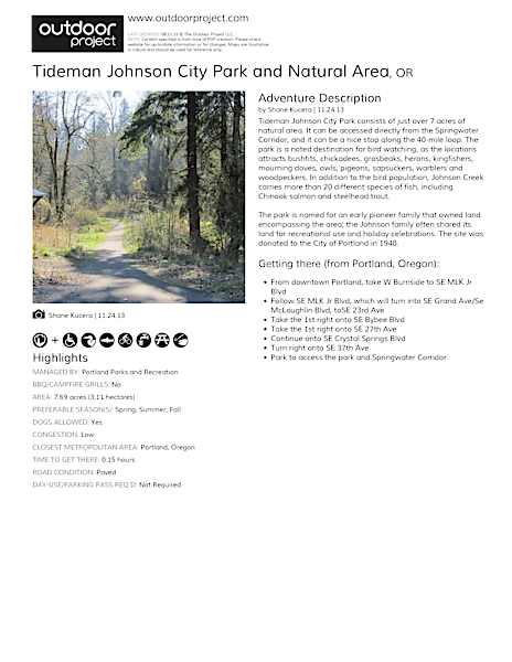 Tideman Johnson City Park and Natural Area Field Guide