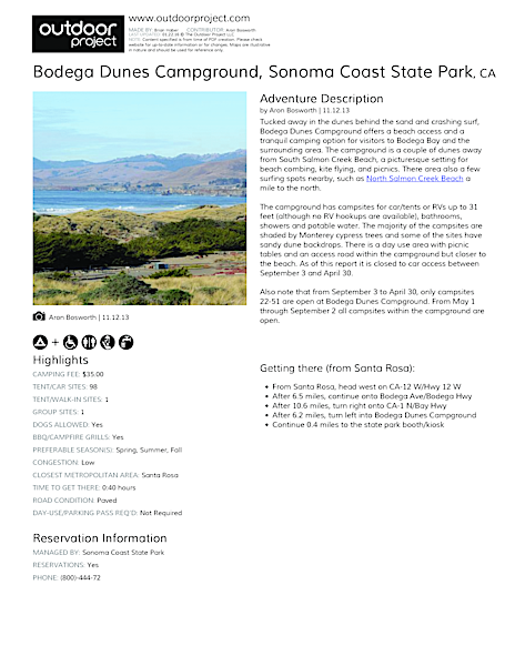 Bodega Dunes Campground Field Guide