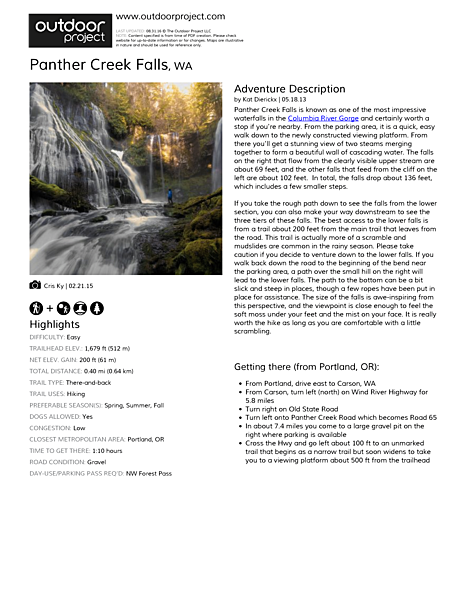Panther Creek Falls Field Guide