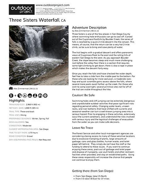 Three Sisters Waterfall Field Guide