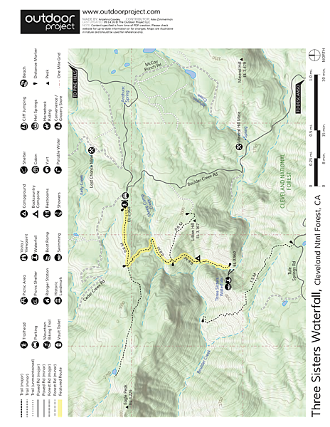 Three Sisters Waterfall Trail Map