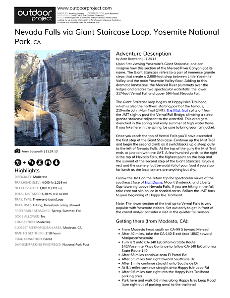 Nevada Falls via Giant Staircase Loop Field Guide