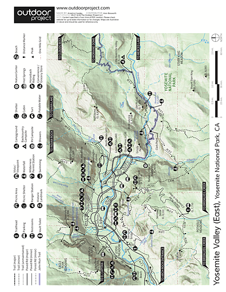Nevada Falls via Giant Staircase Loop Trail Map