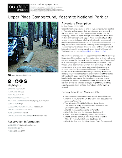 Upper Pines Campground Field Guide