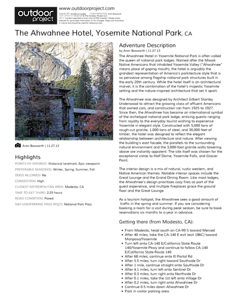 The Ahwahnee Hotel Field Guide