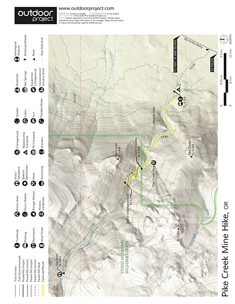 Pike Creek Mine Hike Trail Map