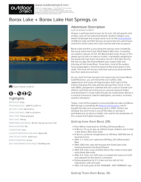 Borax Lake + Borax Lake Hot Springs Field Guide