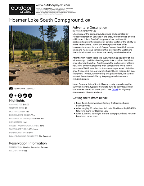 Hosmer Lake South Campground Field Guide