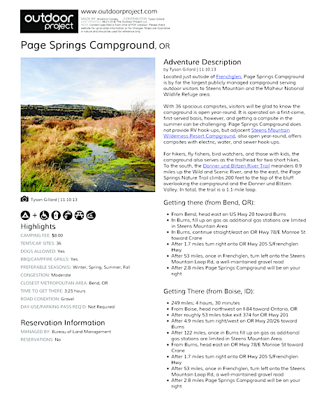 Page Springs Campground Field Guide