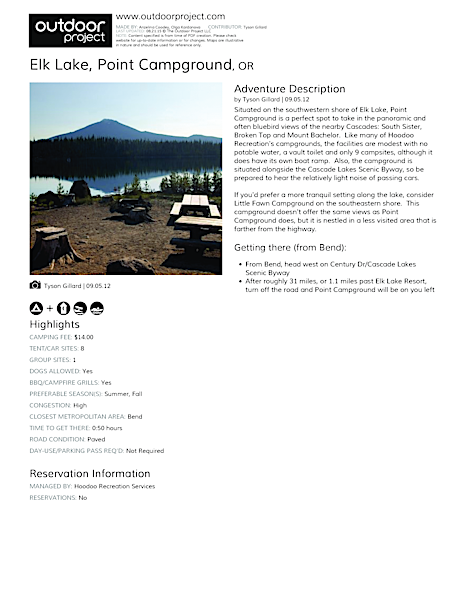 Elk Lake, Point Campground Field Guide