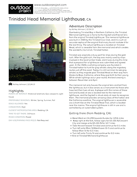 Trinidad Head Memorial Lighthouse Field Guide