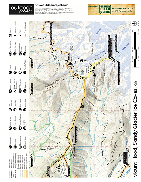 Mount Hood: Sandy Glacier Ice Caves Map
