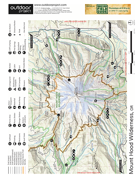 Mount Hood, Sandy Glacier Ice Caves Map