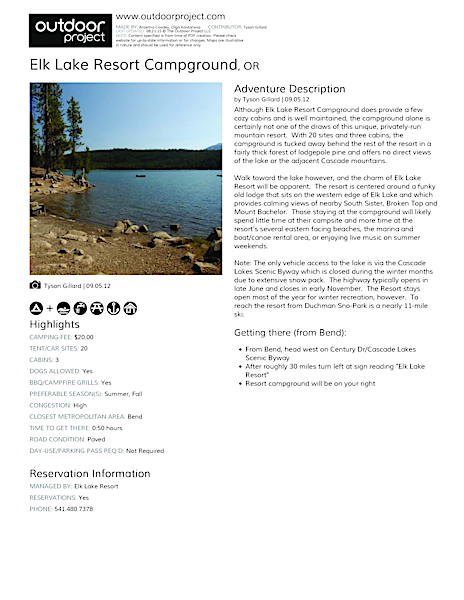 Elk Lake Resort Campground Field Guide