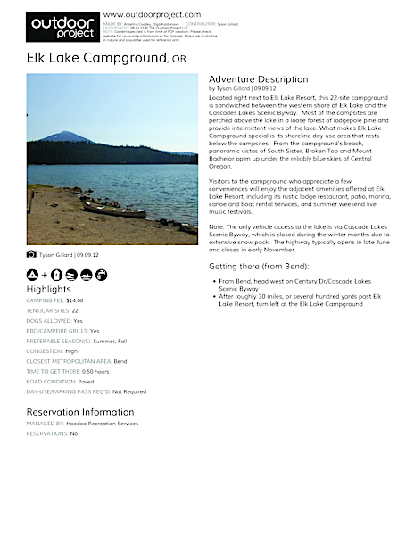 Elk Lake Campground Field Guide