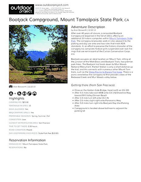 Bootjack Campground Field Guide