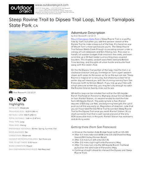 Steep Ravine Trail to Dipsea Trail Loop Field Guide