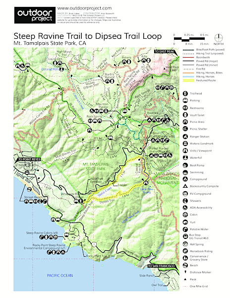 Steep Ravine Trail to Dipsea Trail Loop Trail Map