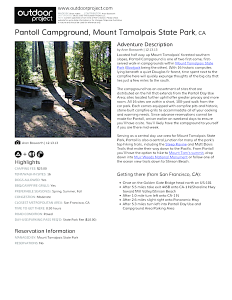Pantoll Campground Field Guide