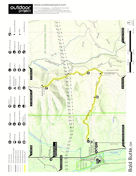 Bald Butte Hike Trail Map