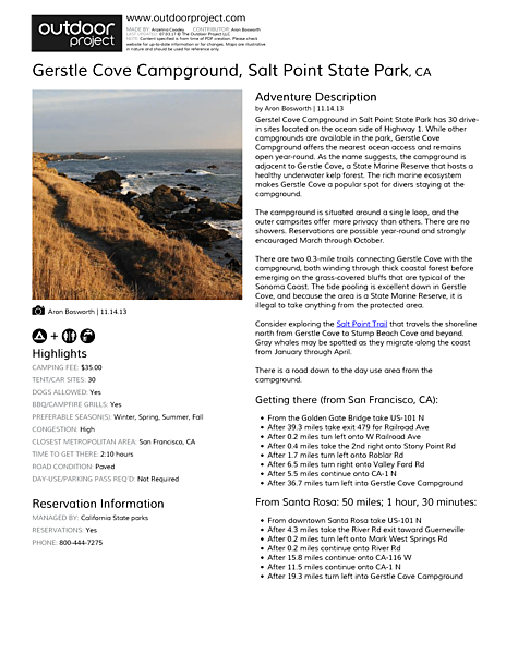 Gerstle Cove Campground Field Guide